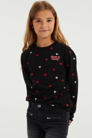 sweater met hartjes zwart/wit/rood