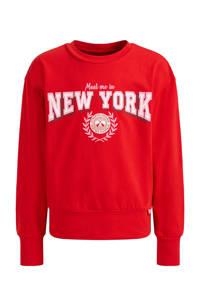 WE Fashion longsleeve met printopdruk rood, Rood