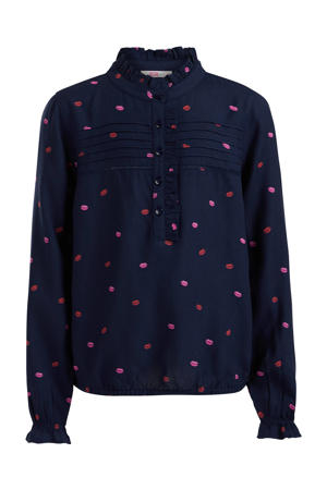 blouse met all over print en ruches donkerblauw/rood