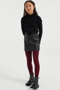 WE Fashion legging - set van 2 aubergine/zwart/ecru, Aubergine/zwart/ecru