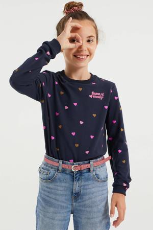 sweater met hartjes donkerblauw/roze/goud