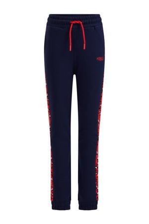 regular fit joggingbroek donkerblauw/rood