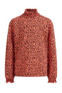 WE Fashion top met all over print oranje/bruin, Oranje/bruin
