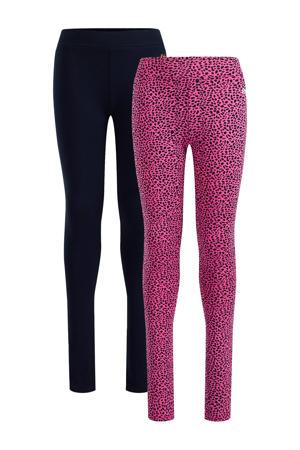 legging - set van 2 roze/zwart