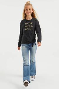 WE Fashion longsleeve met printopdruk en pailletten antraciet, Antraciet