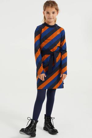 gestreepte jurk donkerblauw/oranje