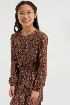 jurk met stippen bruin