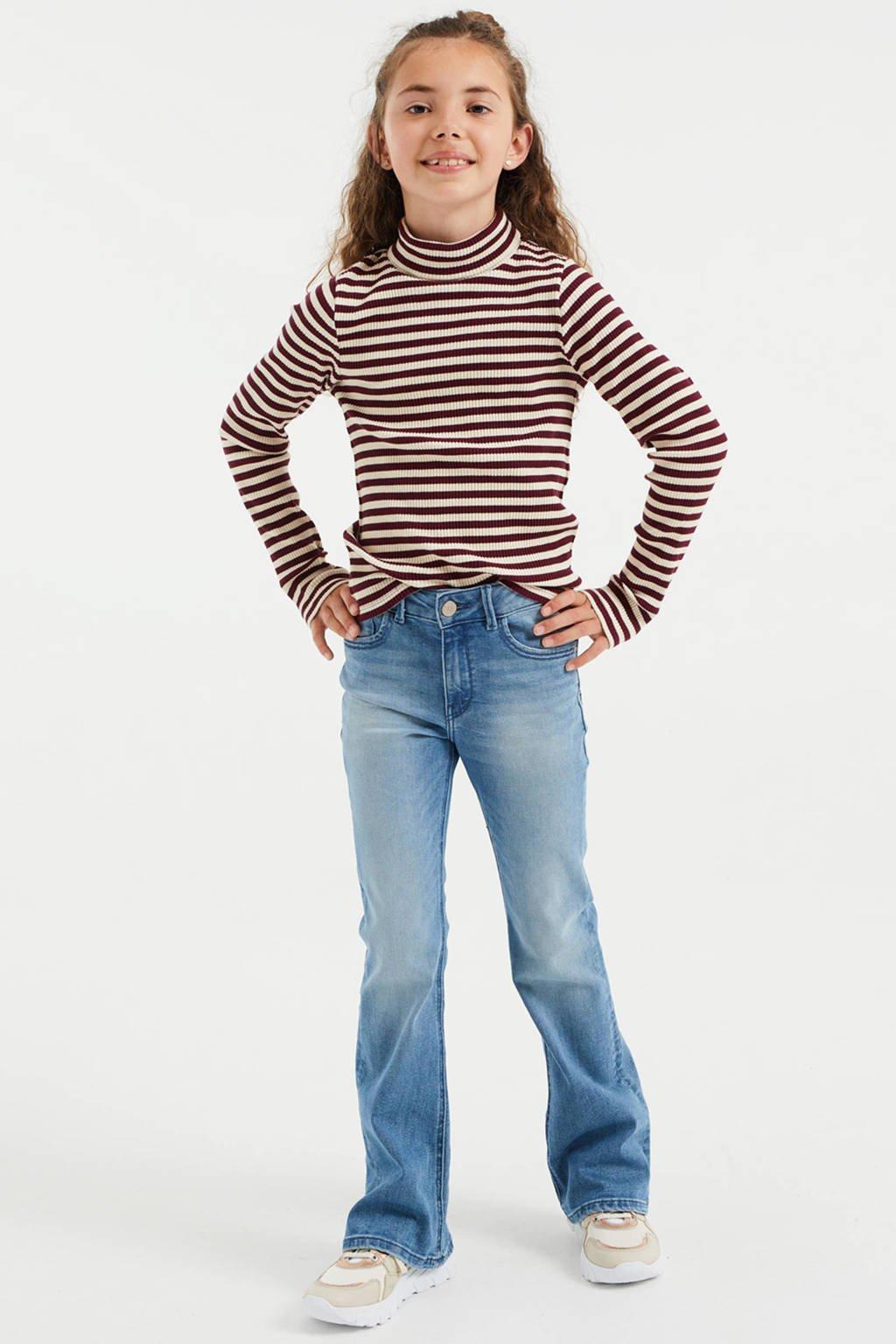 WE Fashion gestreepte top donkerrood/ecru, Donkerrood/ecru