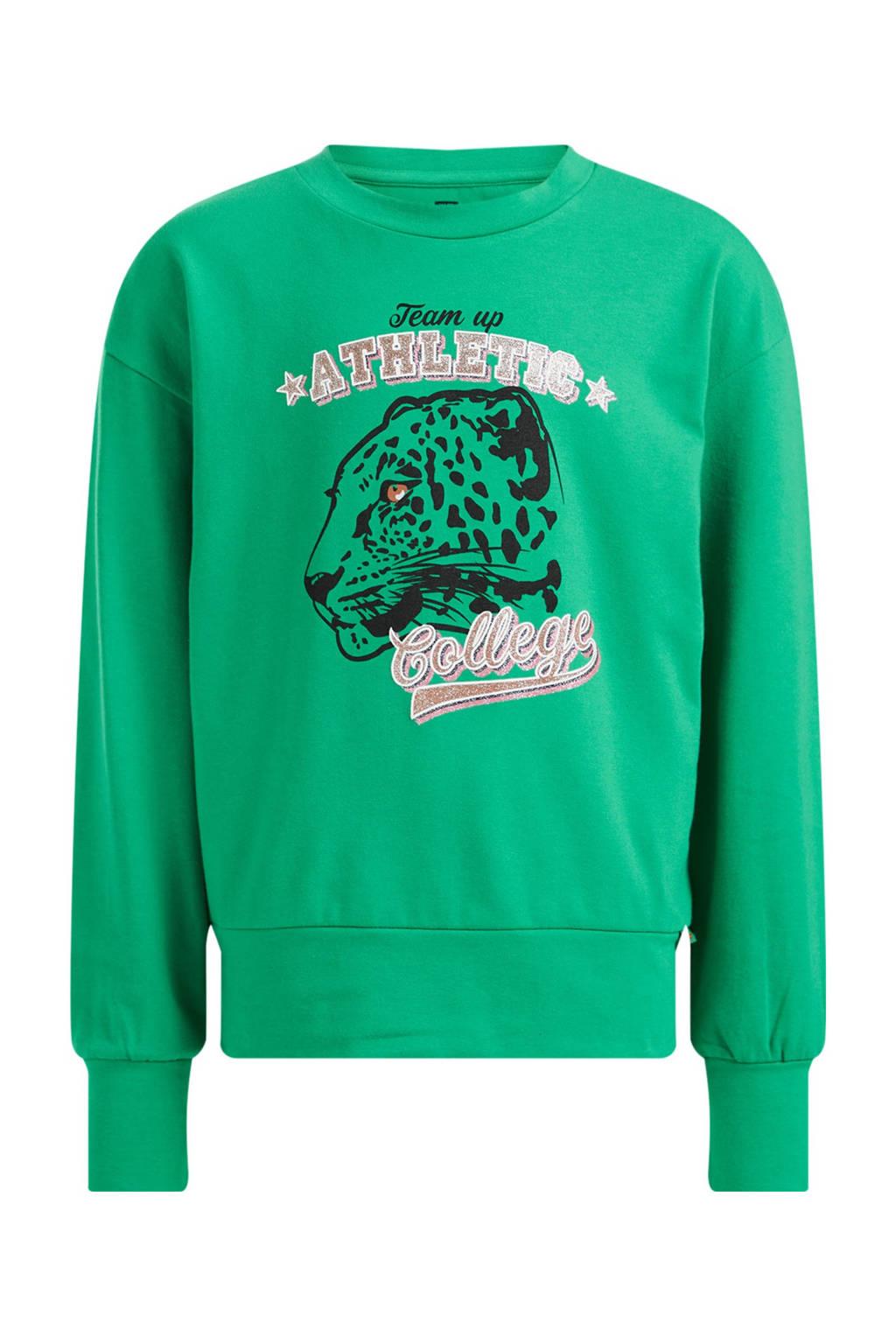 WE Fashion longsleeve met printopdruk groen, Groen