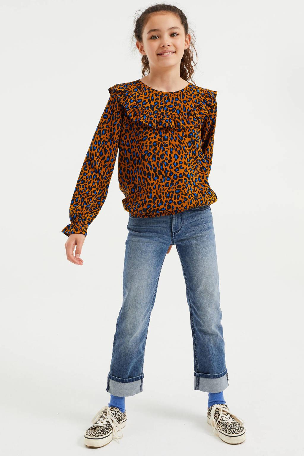 WE Fashion top met panterprint en ruches bruin/blauw, Bruin/blauw