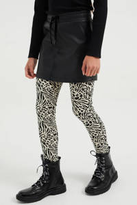 WE Fashion legging met all over print ecru/zwart, Ecru/zwart