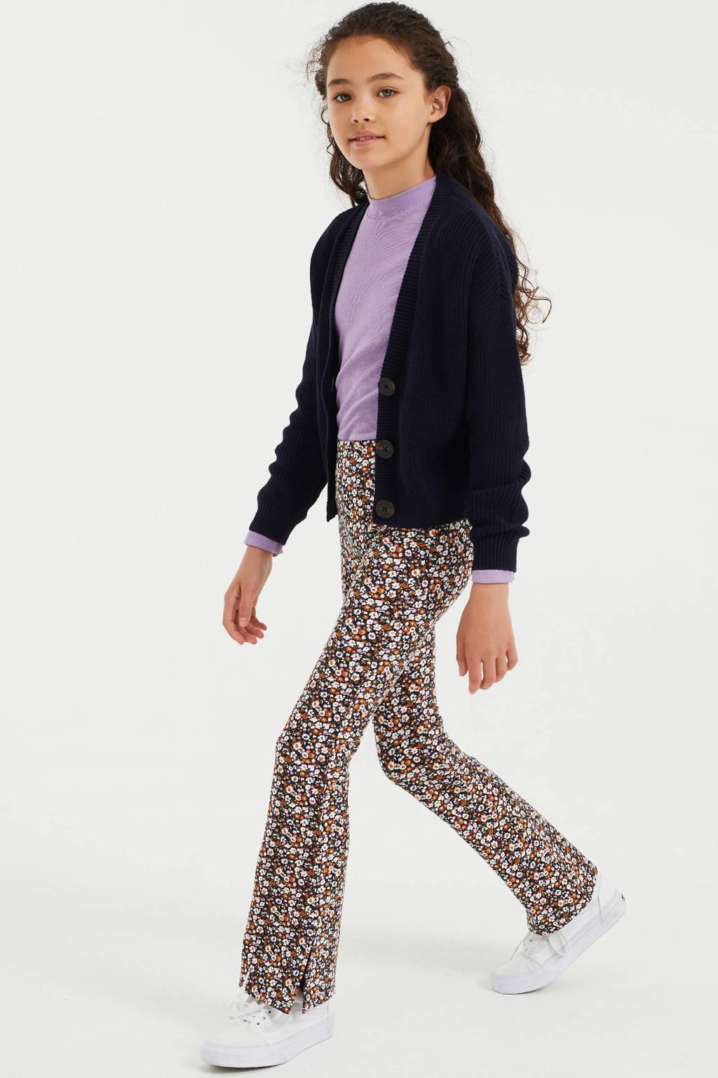 WE Fashion gebloemde flared broek donkerblauw/oranje/wit, Donkerblauw/oranje/wit