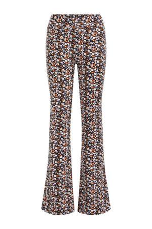 gebloemde flared broek donkerblauw/oranje/wit