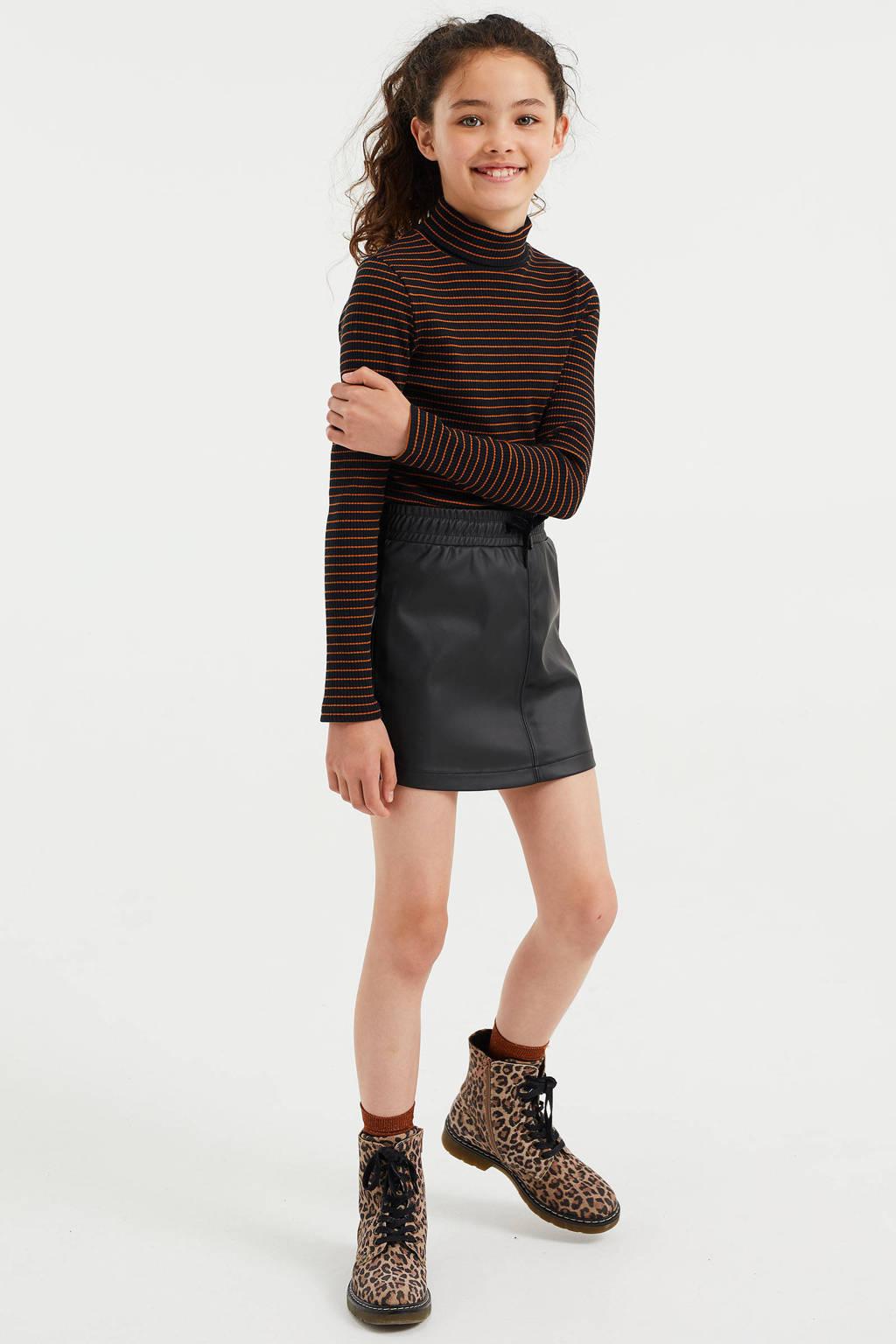 WE Fashion gestreepte top bruin/zwart, Bruin/zwart