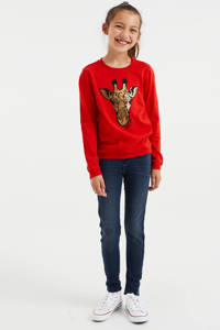 WE Fashion longsleeve met dierenprint rood, Rood