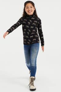 WE Fashion top met dierenprint zwart, Zwart