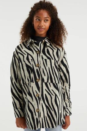jasje met zebraprint grijs/zwart