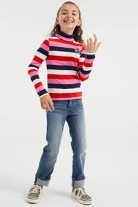 WE Fashion gestreepte fijngebreide longsleeve roze/rood/wit, Roze/rood/wit