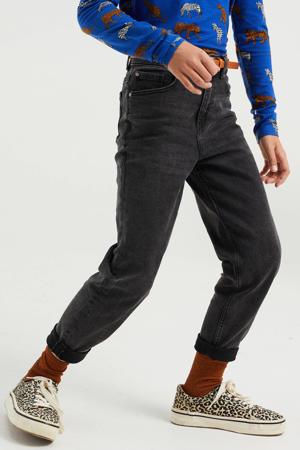 high waist tapered fit jeans black denim