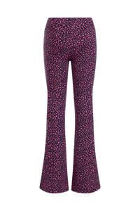 WE Fashion flared broek met all over print zwart/roze, Zwart/roze