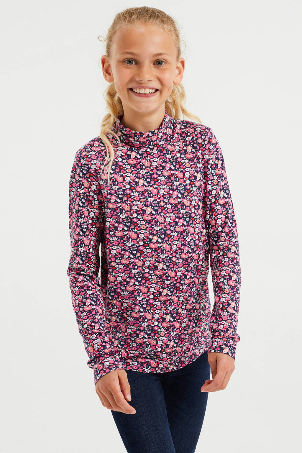 WE Fashion top met all over print donkerblauw/roze, Donkerblauw/roze
