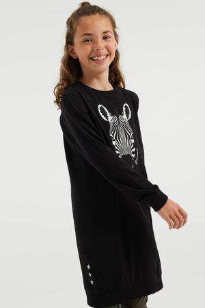 jurk met printopdruk en pailletten zwart
