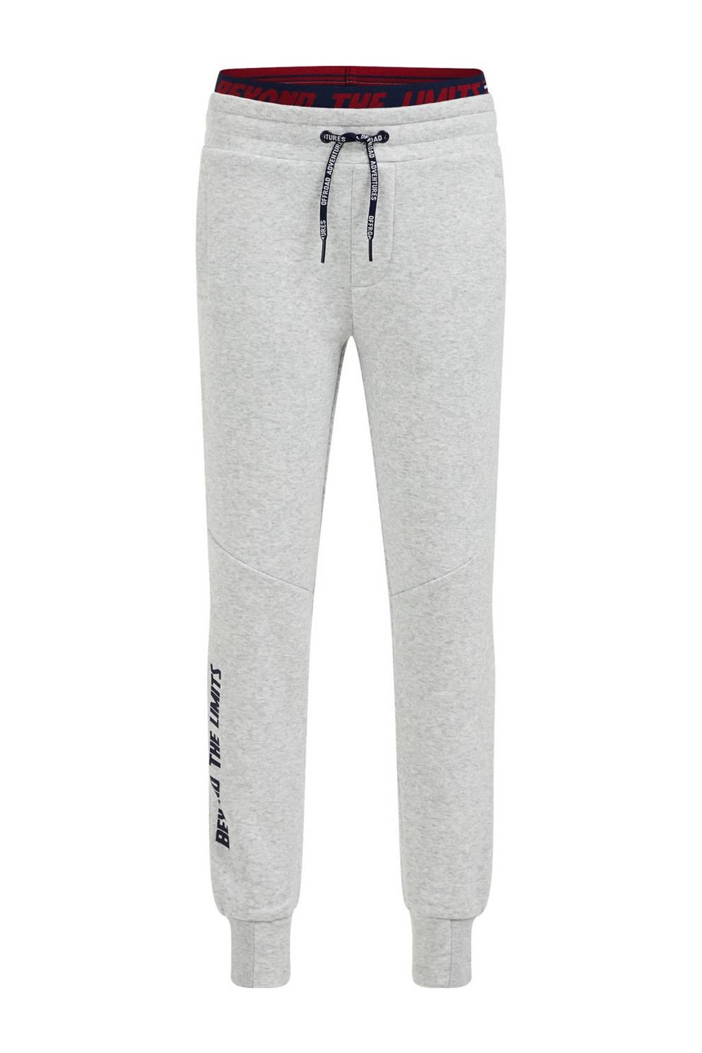 WE Fashion slim fit joggingbroek met tekst grey melange