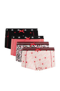 WE Fashion short - set van 4 roze/rood/zwart, Roze/rood/zwart