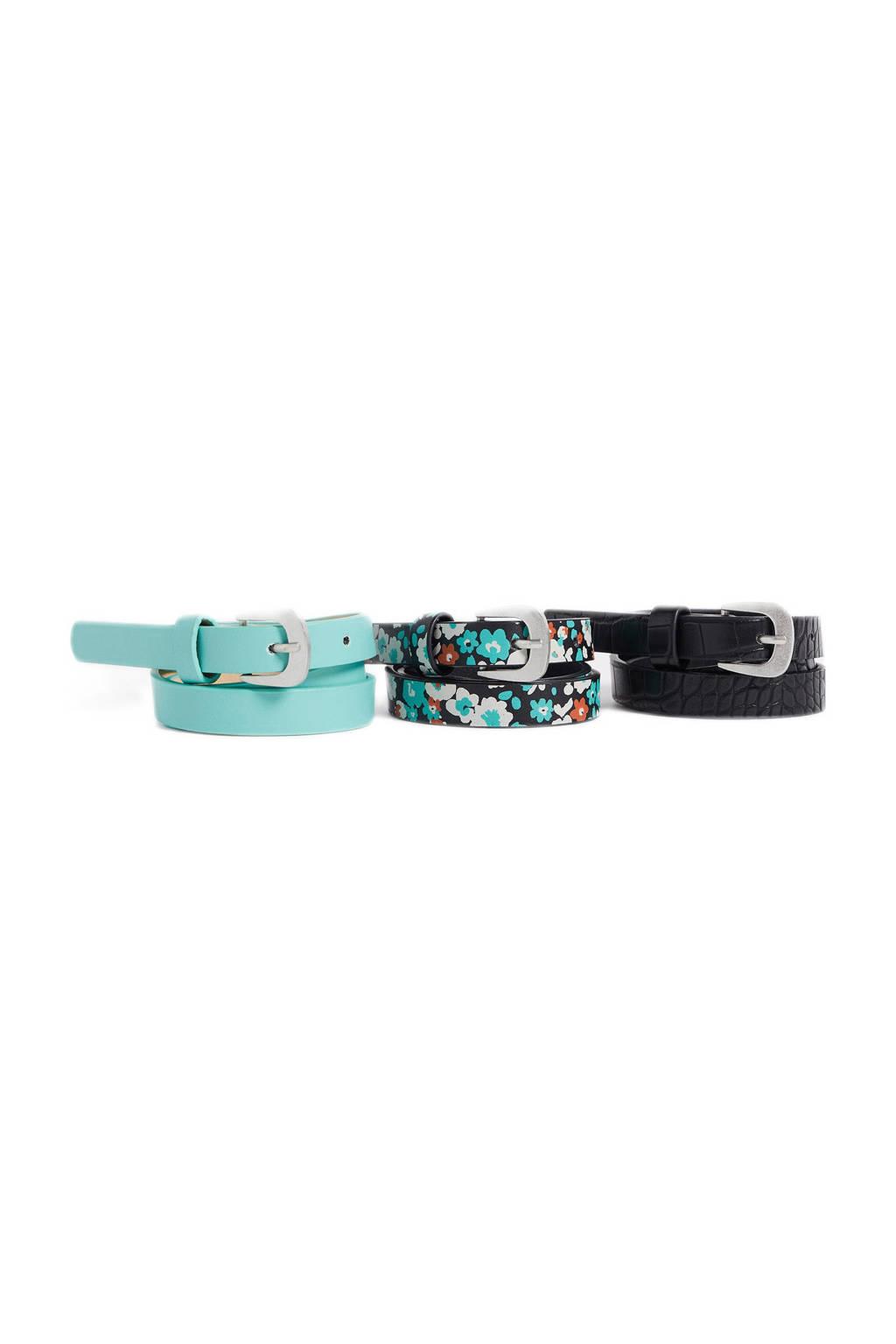 WE Fashion riem - set van 3 lichtblauw/zwart, Lichtblauw/zwart