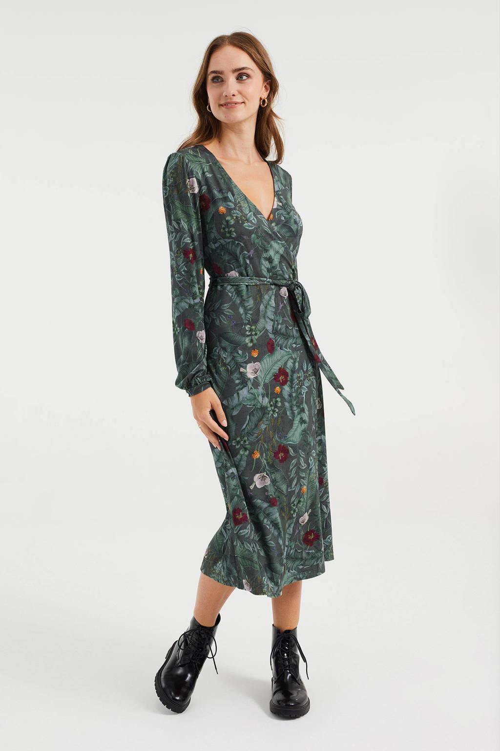 WE Fashion wikkeljurk met all over print en ceintuur donkergroen/donkerrood/lila, Donkergroen/donkerrood/lila