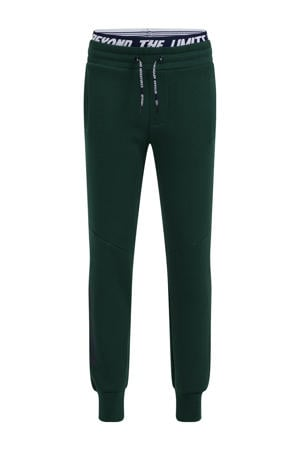 slim fit joggingbroek met tekst shade green