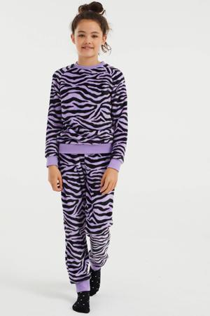 pyjama met zebraprint lila/zwart