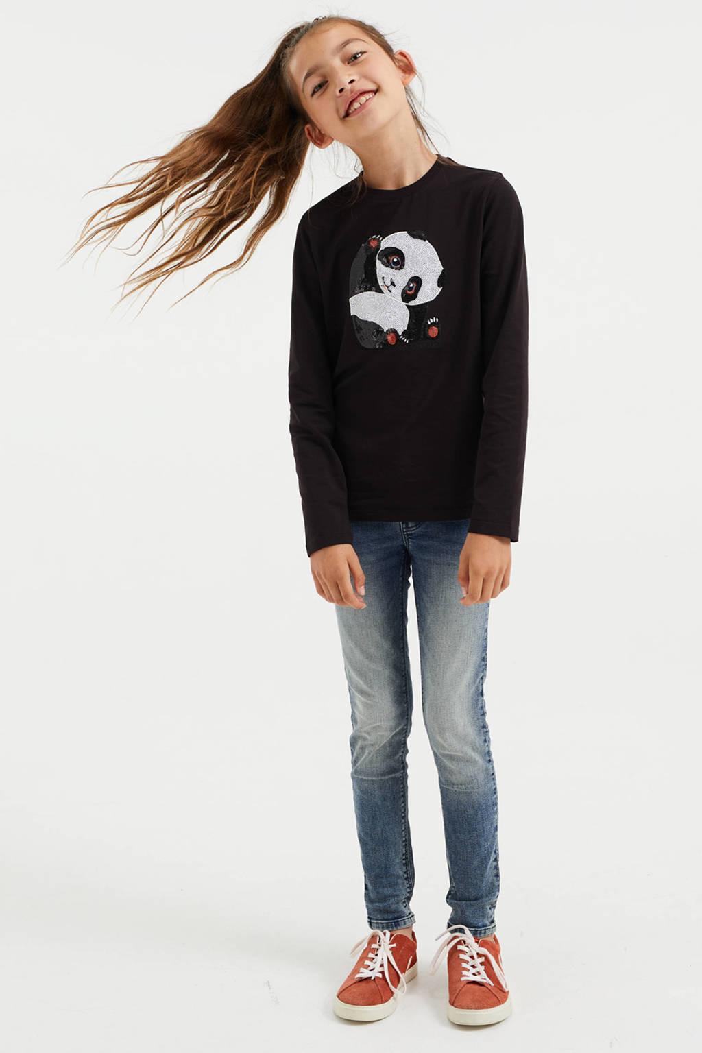 WE Fashion longsleeve met printopdruk en pailletten zwart, Zwart