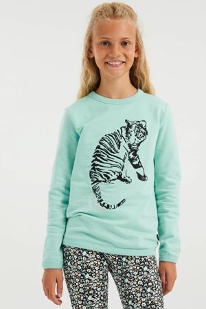 sweater met printopdruk mintgroen