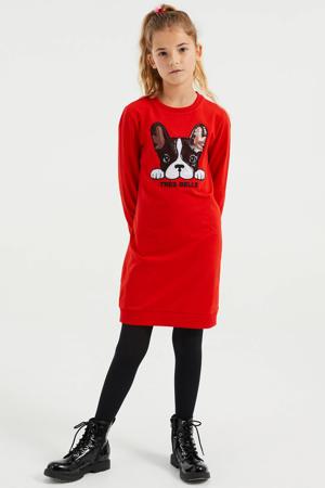 jurk met printopdruk en pailletten rood