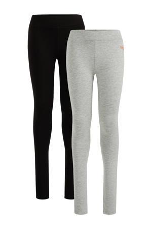 legging - set van 2 lichtgrijs/zwart
