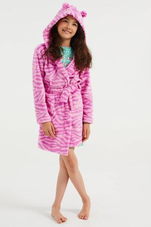 badjas met zebraprint roze/paars