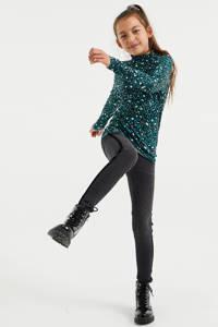 WE Fashion top met panterprint donkergroen/zwart/mintgroen, Donkergroen/zwart/mintgroen