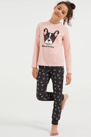 pyjama met printopdruk lichtroze/grijs
