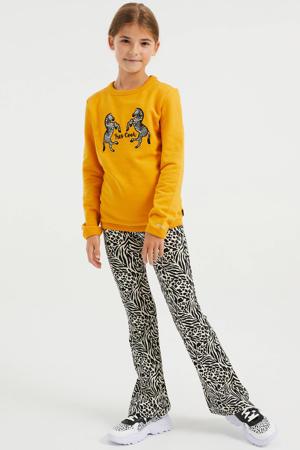 sweater met printopdruk okergeel