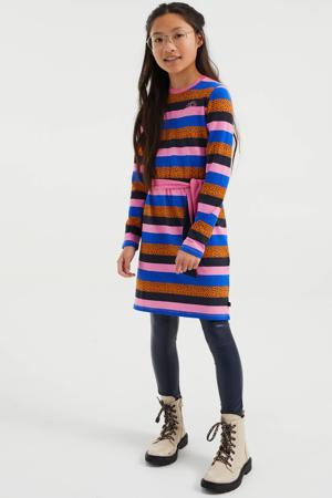 gestreepte jurk roze/blauw/oranje