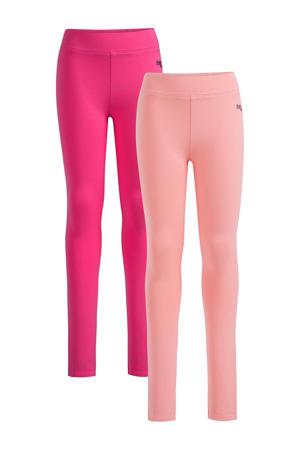 legging - set van 2 fuchsia/roze