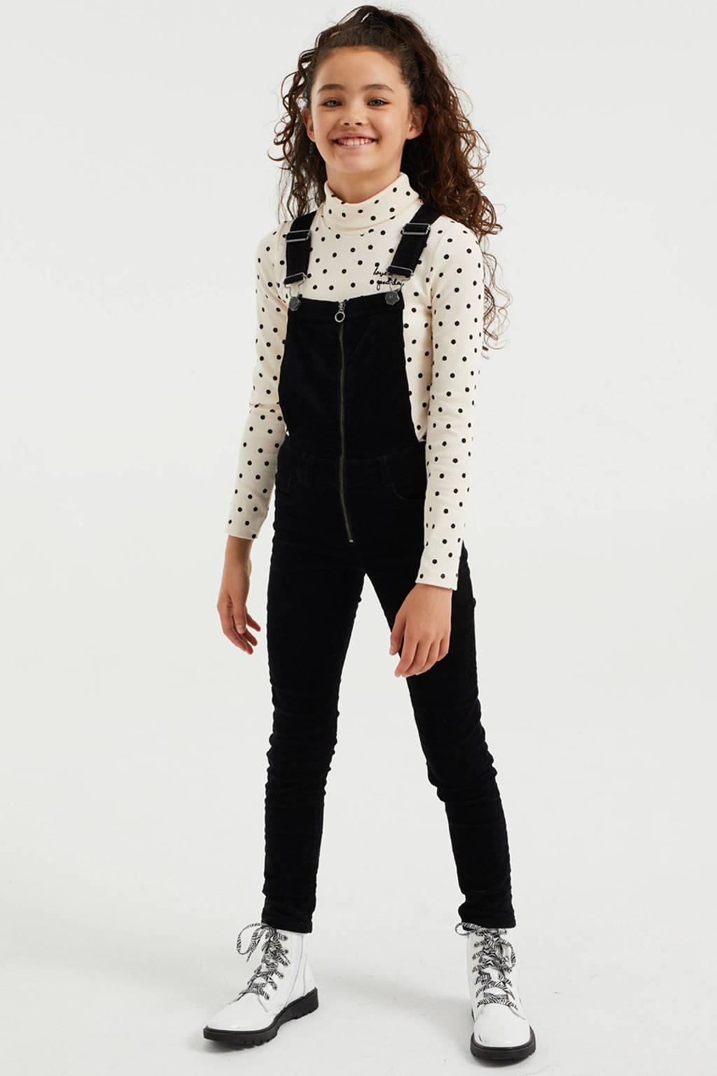 WE Fashion longsleeve met all over print en textuur wit, Wit