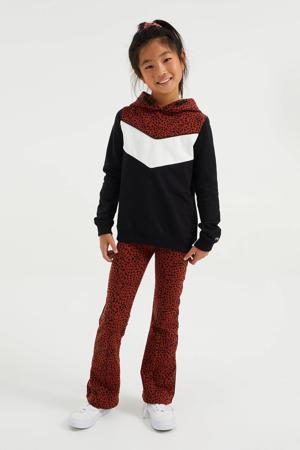 broek met panterprint donker oranje