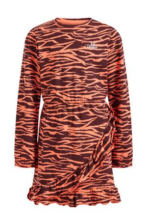 jurk met dierenprint en ruches bruin/oranje