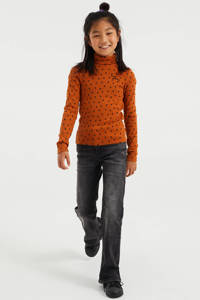 WE Fashion longsleeve met all over print en textuur bruin, Bruin