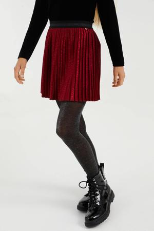rok van gerecycled polyester donkerrood/zwart