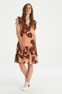 Shoeby Eksept semi-transparante A-lijn jurk Harper met all over print en volant oranje/bruin/zilver, Oranje/bruin/zilver