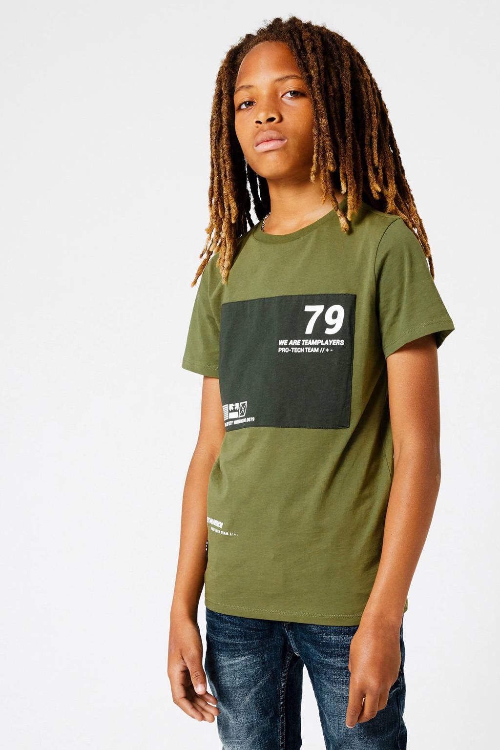 CoolCat Junior T-shirt Ethon met tekst groen/zwart, Groen/zwart