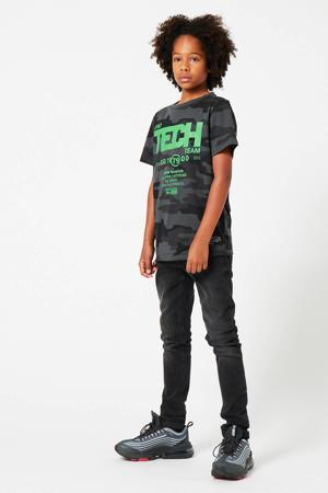 T-shirt Erwyn met camouflageprint zwart/groen